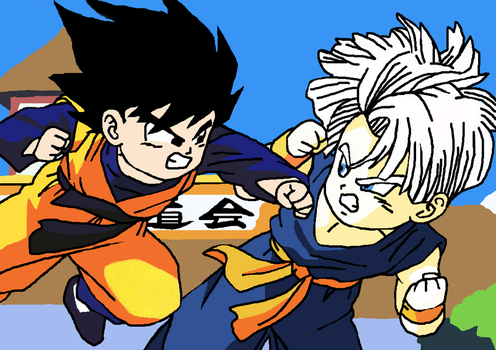 Goten vs Trunks Drawing by CatCamellia