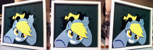 Commission: Derpy Crash Shadowbox by The-Paper-Pony