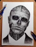 My pencil drawing of Rick Genest aka Zombie boy by AtomiccircuS