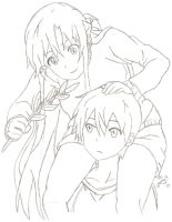 Kirito and Asuna Sketch by ImRocker