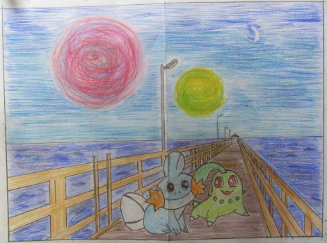 Mudkip and Chikorita Friendship at Night by Puswi