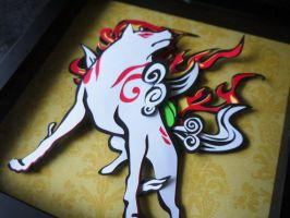 Okami Layered Paper Cut Art Piece Shadowbox by smallrinilady