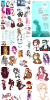 So huge Sketchdump with explanations by sora-jimonitos