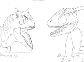Allosaur vs. Big Al by Kawekaweau