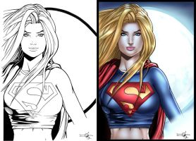 Supergirl side by side by Carl-Riley-Art