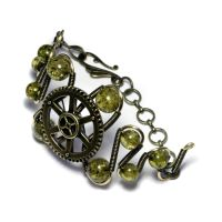 STEAMPUNK BRACELET GREEN AMBER by CatherinetteRings
