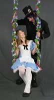 Alice and Hatter on swing by MajesticStock