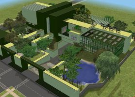 Sims 2 Large modern green mansion by RamboRocky