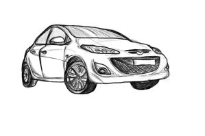 Mazda 3 LineArt Drawing by altiscorner