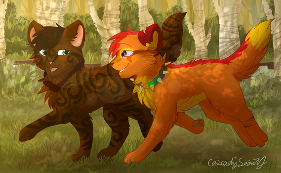 Opaltail and Spiritblaze by CascadingSerenity