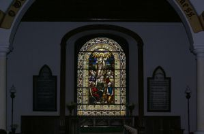 Church Stained glass window by mindCollision-stock