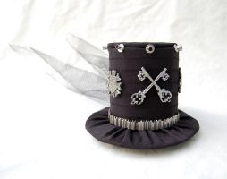 Tiny Top Hat: Punk Rocker with Black Back Veil by TinyTopHats
