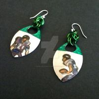 Football Stars Scalemaille Earrings by Rosie-Periannath