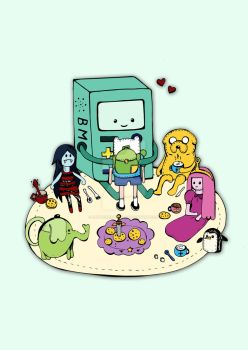 BMO and friends are having a tea party by dewycreations