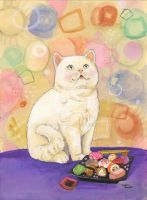 Sushi Cat  In Love Cant Eat by BlueBirdie