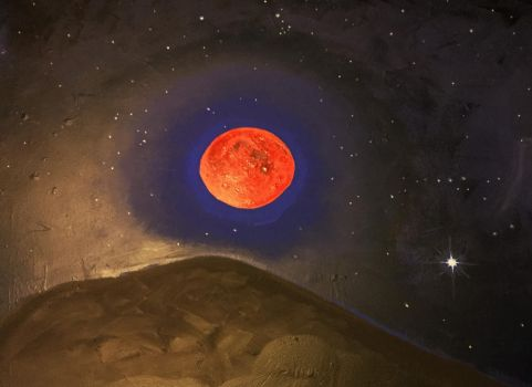 Blood Moon Rising Over Spica by Dafyddebar