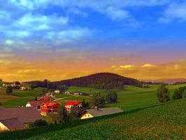 Small village skyline with sunset by patrickjobst