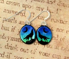 Wolf Howl Fused Glass Earrings by FusedElegance