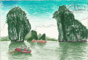 Ha Long Bay - crayons by Sayornara