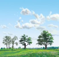 trees on a hill by Di---Chan