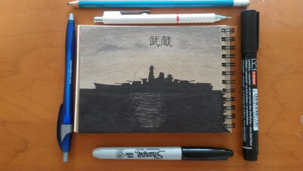 Battleship Musashi sketch by SupermanLovesAspen