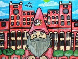 FSU GNOME IN FRONT OF THE DOAK by sampson1721