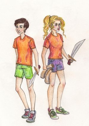 Percy Jackson and Annabeth Chase by amberthought