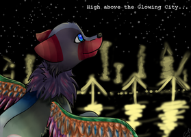 Commission : High Above the Glowing City... by catisawesome123