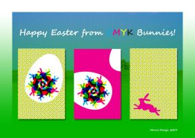 CMYK Bunnies Easter Cards by Verine