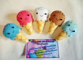 Delicious Ice Cream Brooches by OkashiBurochi