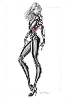 Black Widow Pencils with digital markers by jamietyndall