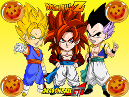 Gotenk and Gogeta super saiyan 1 and 4 by RedDBZ
