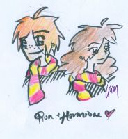 Ron and Hermione by firezstarz