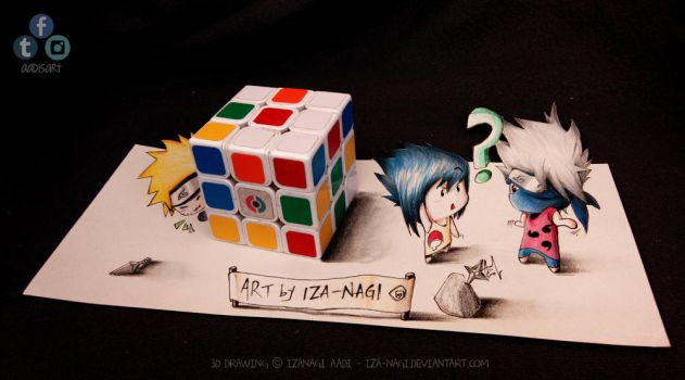 NaruSasuKaka - Hide N Seek! ^w^ - 3D DRAWING by Iza-nagi