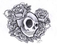 Skull and roses by jerrrroen