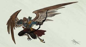 Commission: Aarakocra Archer by Skyserpent