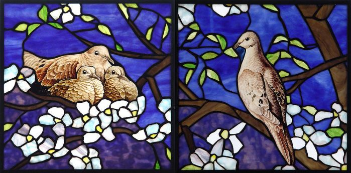 Mourning Doves in Dogwood by indeestudios
