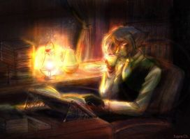 Zel reading books for DarkAgit by EugeneCh