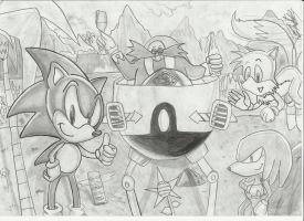 Sonic celebrates his success in the world by Krizeii