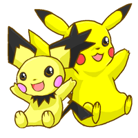Pikachu and Notched-Ear Pichu by Ishisu