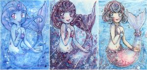 ACEO Mermaid Sisters by PaminaArtistry