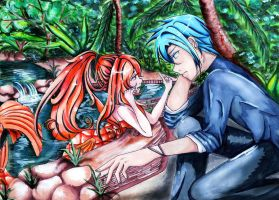 Koi pond romance by MellonSunrise
