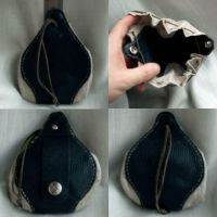 Leather and Linen coin purse by rwolf1970