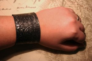 Black and Silver Leather Cuff by turnerstokens