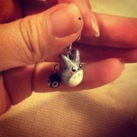 Totoro with Soot Spirit Charm Earrings by SugarCharms