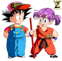 Goku and Arale by el-maky-z