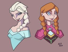 Elsa and Anna by GeekyAnimator