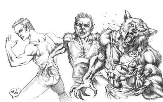 Werewolf transfrmation COMMISSION 2 by RudyVasquez