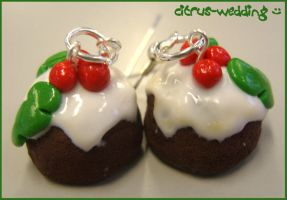 xmas pudding earrings by citruscouture