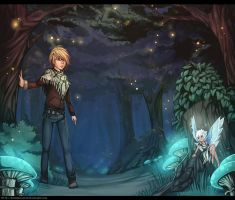 Commission - Cael and Adara through the woods by Exarrdian